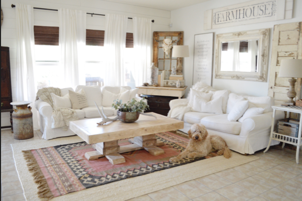 woven persian, layered rug in living room with dog and white couch, farmhouse style